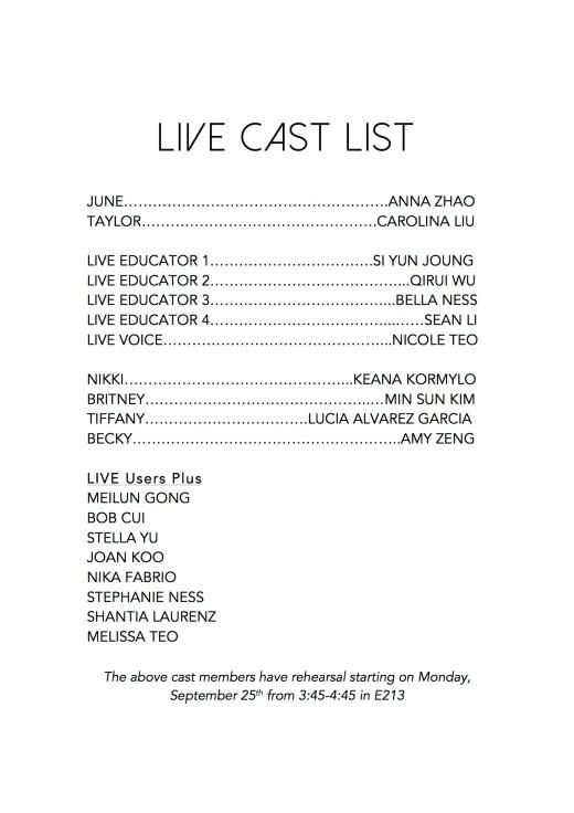 LIVE CAST LIST