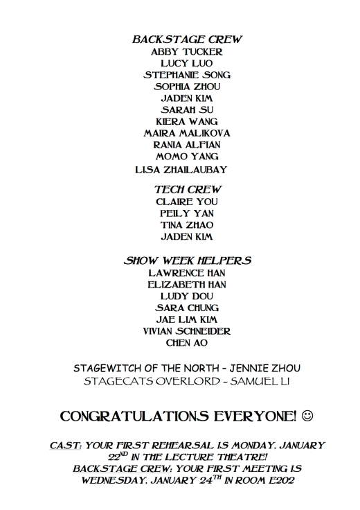 The Wizard of Oz CAST LIST Pg. 2