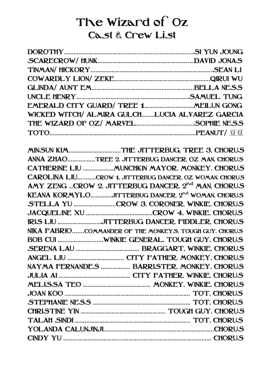 The Wizard of Oz CAST LIST