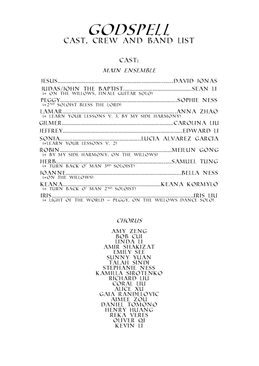 godspell cast list